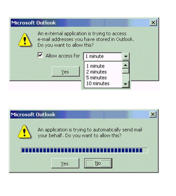 Các tính năng tự động trong Outlook trước đây bị vô hiệu hóa, và nó sẽ gửi thông báo đến cho người dùng khi có phần mềm muốn làm điều này.