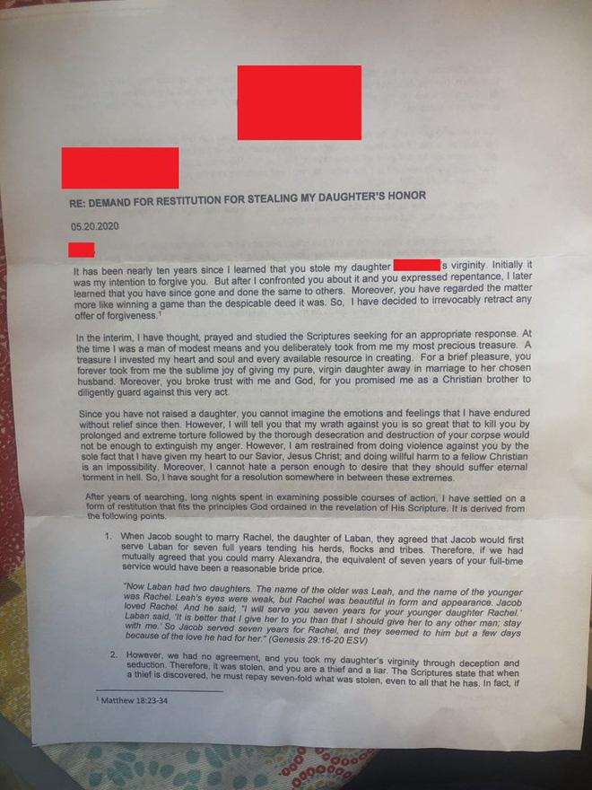 Trót ăn trái cấm thời trung học, 10 năm sau anh thanh niên nhận bức thư thịnh nộ từ bố bạn gái cũ với lời lẽ ai đọc cũng thấy hốt hoảng - Ảnh 2.