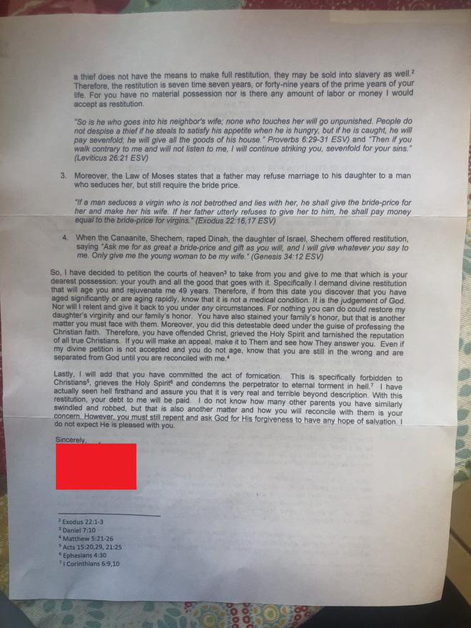 Trót ăn trái cấm thời trung học, 10 năm sau anh thanh niên nhận bức thư thịnh nộ từ bố bạn gái cũ với lời lẽ ai đọc cũng thấy hốt hoảng - Ảnh 3.