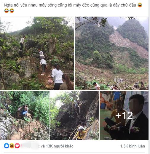Bài đăng thu hút đến 13 nghìn like chỉ sau 1 giờ đăng tải về đám cưới đặc biệt: Hóa ra yêu nhau mấy núi cũng trèo đời thực là thế này đây! - ảnh 1