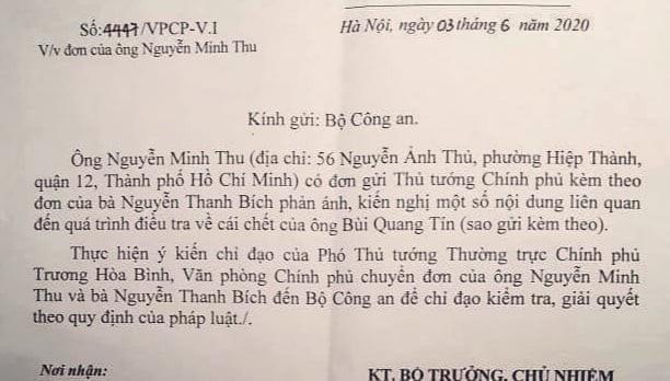 Phó Thủ tướng yêu cầu Bộ Công an giải quyết đơn vụ tiến sĩ Bùi Quang Tín tử vong - Ảnh 1.
