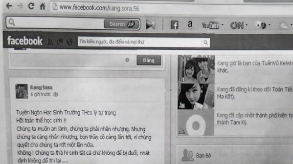 Trang facebook cá nhân của em V. (học sinh lớp 8 THCS Lý Tự Trọng) đã viết