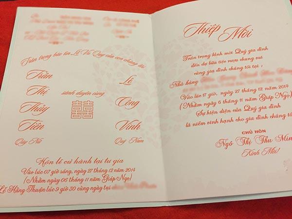 Phần bên trong của thiệp cưới Công Vinh - Thuỷ Tiên.