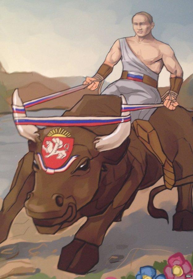 Trong bức tranh, Putin được miêu tả là đang cưỡi một chú bò Crimea đáng sợ - ám chỉ việc Crimea ly khai khỏi Ukraine và sáp nhập vào Nga hồi tháng Ba năm nay.