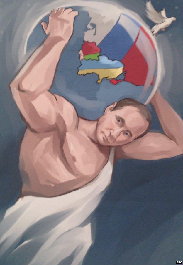 Bức tranh khắc họa Tổng thống Nga như một nhà lãnh đạo đầy mạnh mẽ, ủng hộ hòa bình ở Ukraine.