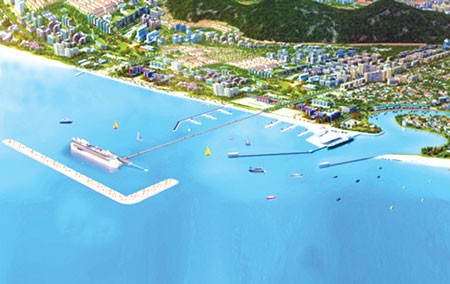 Phối cảnh cảng đón tàu du lịch đẳng cấp quốc tế ở thị trấn Dương Đông, huyện đảo Phú Quốc