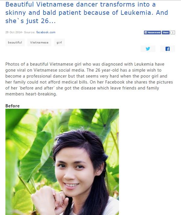 Trang tin châu Á đưa tin về cô gái Đà Nẵng xinh đẹp mắc bệnh máu trắng 1