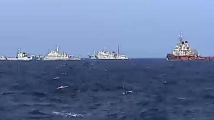 Tàu Trung Quốc vẫn tạo thành hàng rào dày đặc bảo vệ giàn khoan Hải Dương 981.