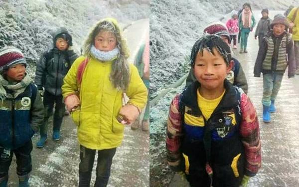 Xót xa hình ảnh những đứa trẻ đóng băng khi tới trường trong cái lạnh -5 độ C 1