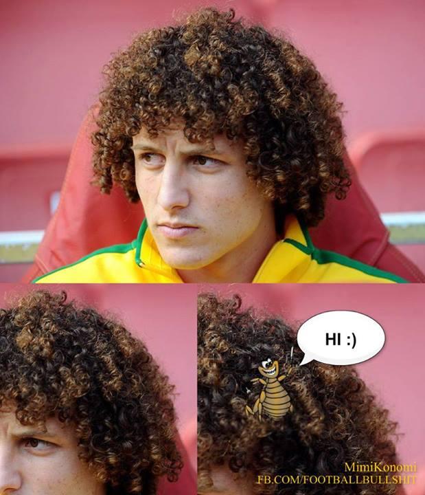Tóc của David Luiz đủ chỗ cho côn trùng làm tổ!!!