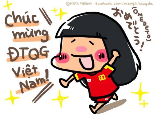 Và trong tranh tự họa cổ vũ ĐT Việt Nam