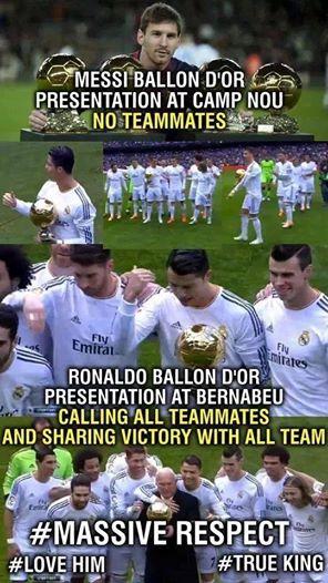 Messi khoe tới 4 bóng vàng nhưng 1 mình. Còn Cris Ronaldo khoe bóng vàng nhưng với cả đội. Đó là sự khác biệt