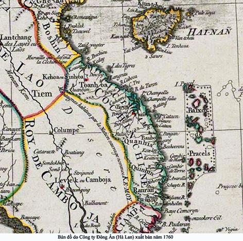 Bản đồ của Châu Âu 1760 khẳng định quần đảo Hoàng Sa, Trường Sa là của Việt Nam