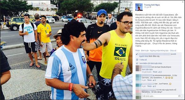 Nhà báo Anh Ngọc bất ngờ gặp Maradona giả ở Brazil
