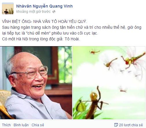 Nhà văn Quang Vinh tưởng nhớ nhà văn Tô Hoài