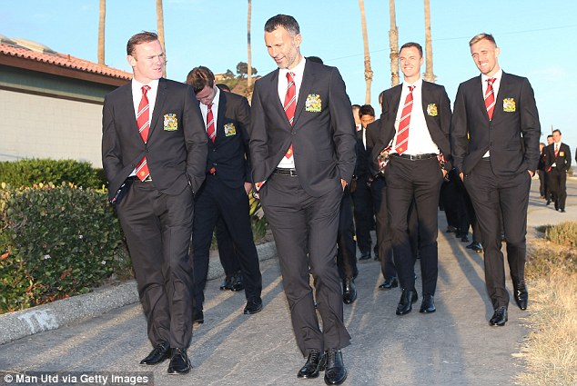 Relaxed: Manchester Uniteds players are in Los Angeles ahead of their pre-season tour of America