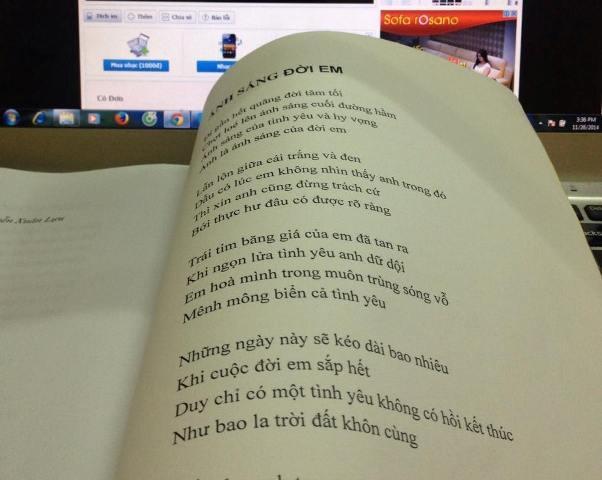 Một trang trong tập thơ sắp ra mắt của chị Loan
