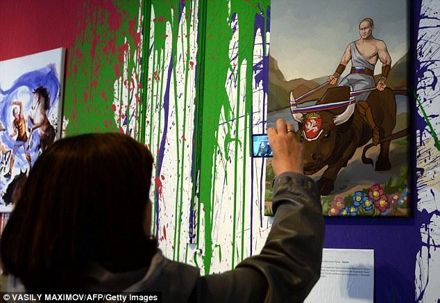Một bức tranh trong triển lãm dành dành riêng cho Putin tại Moscow.