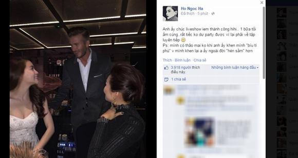 Hồ Ngọc Hà tỏ ra rất hào hứng khi được Beckham ân cần hỏi han về liveshow sắp diễn ra. Thông tin David Beckham khen Hà Hồ xinh đẹp trở thành 1 đề tài hấp dẫn trên các trang thông tin điện tử.