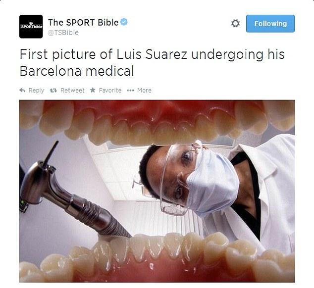 Đảm bảo ông là phù hợp: răng của tiền đạo y tế dường như có liên quan kiểm tra Luis Suarez của