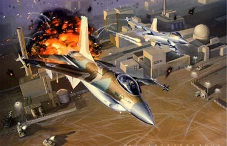 Đồ họa vụ không kích cơ sở hạt nhân Osirak.