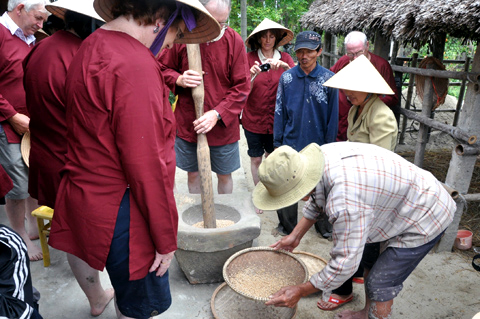 khách-nước-ngoài, khách-Tây, nông-dân, Hội-An, cấy-lúa, giã-gạo, thổi-cmw, trồng-rau, Cẩm-Thanh, Trà-Quế