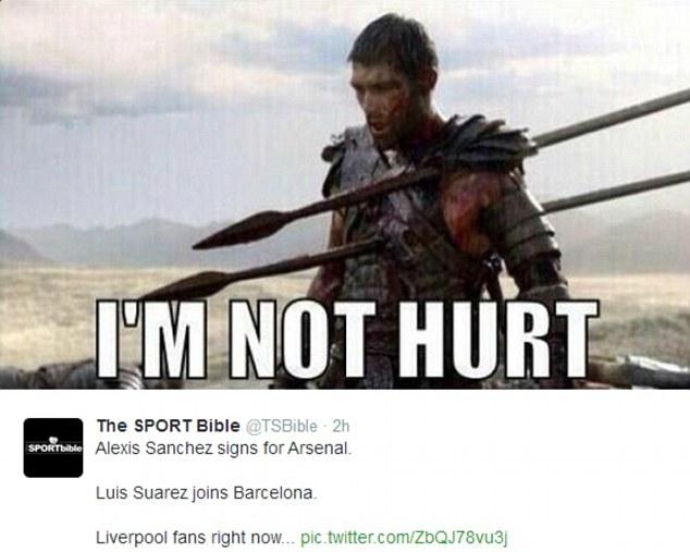 Ở mạnh: Đây virus chế nhạo người hâm mộ Liverpool đã đề nghị họ cũng tốt với Suarez lại
