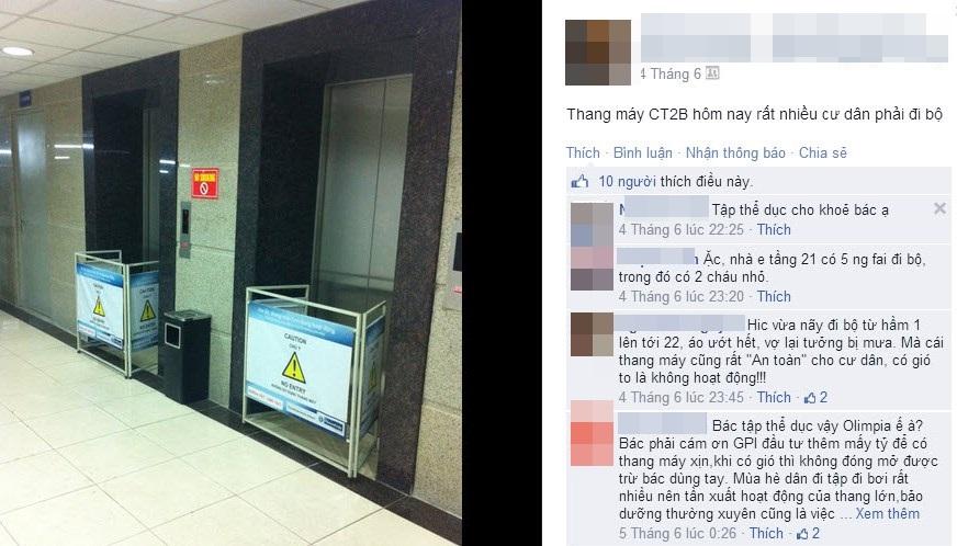 Người dân bức xúc vì không hiểu nổi sao gió hơi to, thang máy đã không thể hoạt động được.