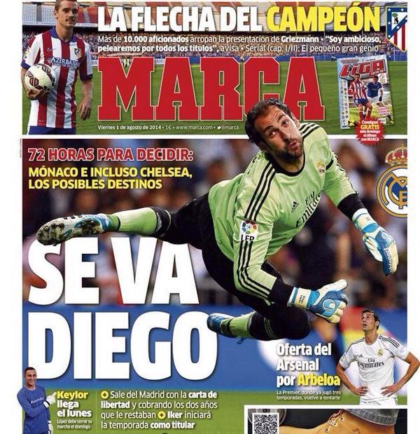 Trang nhất nhật báo Marca khẳng định Chelsea đang muốn chiêu mộ Diego Lopez