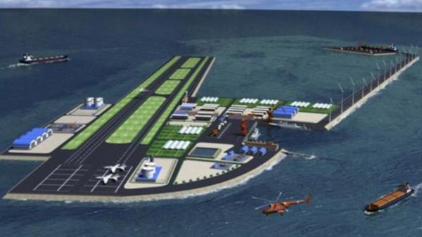 Mô hình đảo nhân tạo mà Trung Quốc âm mưu xây ở đảo Gạc Ma thuộc quần đảo Trường Sa của Việt Nam