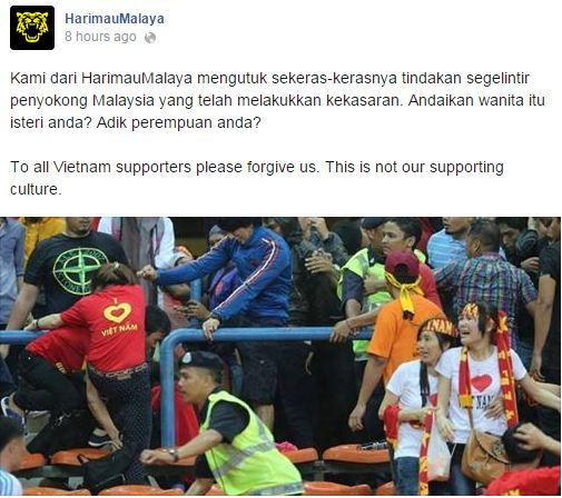Lời xin lỗi của CĐV Malaysia