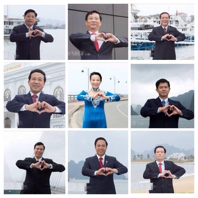 """Khi lần đầu tiên nhìn thấy hình ảnh của 9 vị lãnh đạo tỉnh Quảng Ninh khum tay thành hình trái tim rất thú vị trong chương trình """"Nụ cười Hạ Long"""", chuyên gia marketing Hoàng Tùng, CEO Pizza Home đã cảm thấy rất vui và """"hơi ngạc nhiên một chút khi thấy hành động này""""."""
