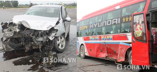 2 chiếc xe con cùng xe khách bị hư hỏng nghiêm trọng sau vụ tai nạn kinh hoàng.