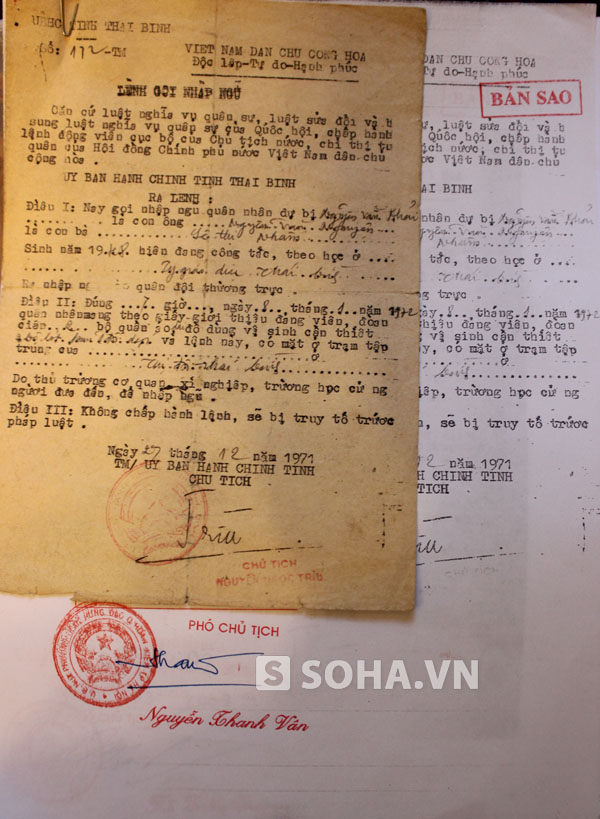 Lệnh gọi nhập ngũ của chiến sỹ Nguyễn Văn Khải.
