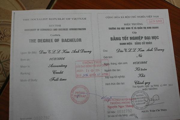 Bằng tốt nghiệp của Dương phải viết tắt 1 số kí tự