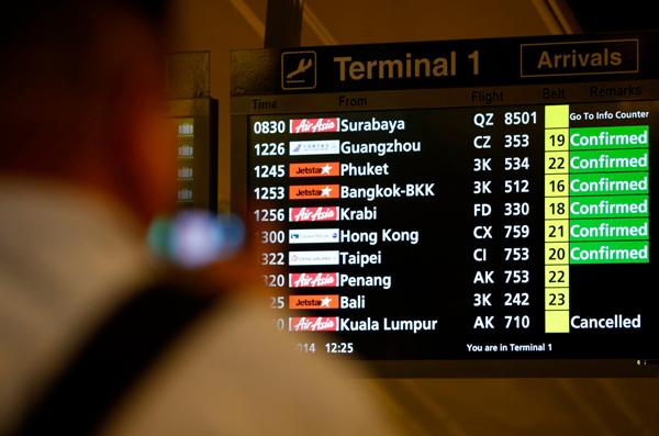 Bảng tin về chuyến bay tại sân bay Changi