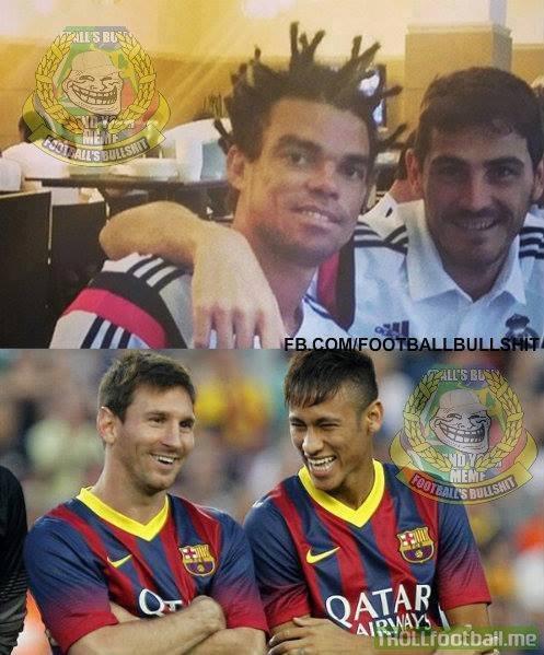 Messi: Pepe bị cắm sừng hả?  Neymar: Chuẩn rồi