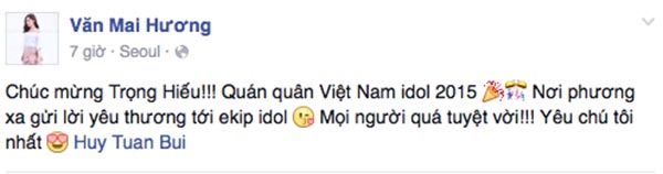 Văn Mai Hương - Á quân năm 2010 gửi lời chúc mừng đến ê kíp Vietnam Idol.
