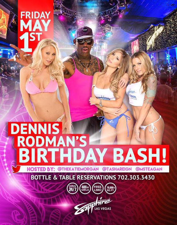 Tấm băng rôn quảng cáo bữa tiệc xa hoa của Dennis Rodman
