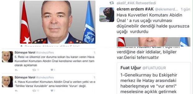 Những hình ảnh được cho là chỉ trích Tư lệnh Không quân Thổ Nhĩ Kỳ Abidin Unal vì đã chỉ đạo bắn rơi Su-24 Nga. Ảnh: Twitter
