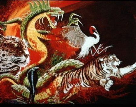 Hình mô phỏng 5 con vật của Ngũ hình quyền.