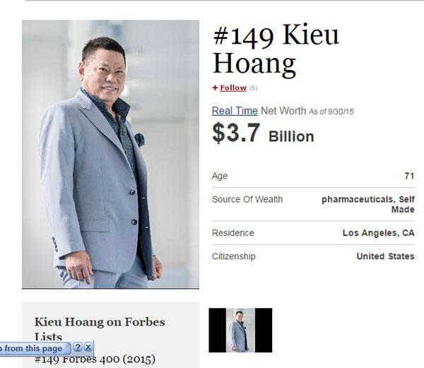 Tỷ phú Hoàng Kiều là người giàu nhất trong số 25 gương mặt mới trong danh sách 400 tỷ phú giàu nhất nước Mỹ năm nay.