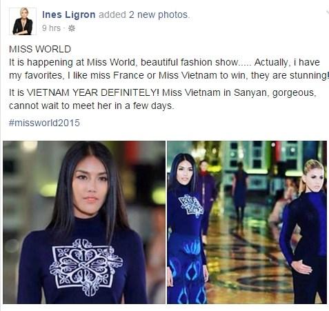 Bà trùm Hoa hậu dành lời có cánh cho đại diện Việt Nam tại Miss World 2015