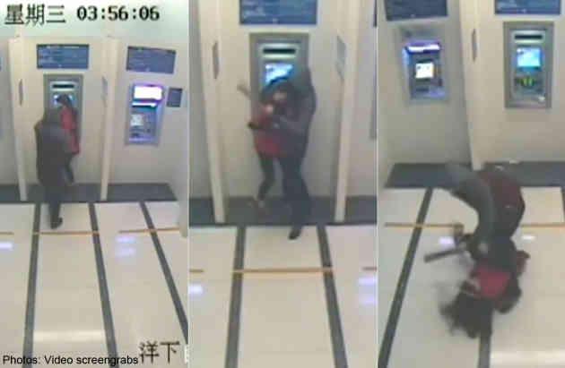 Những hình ảnh từ camera ghi lại cảnh giằng co giữa tên trộm và cô gái trong trụ ATM