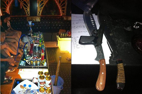 Hiện trường và tang vật vụ phá tụ điểm ma túy - Ảnh: Cảnh sát biển