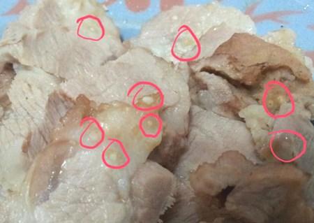 Hình ảnh nang sán trong thịt lợn.