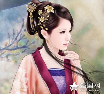 Vẻ đẹp yêu kiều của mỹ nhân Tiết Linh Vân được mô tả qua tranh vẽ.
