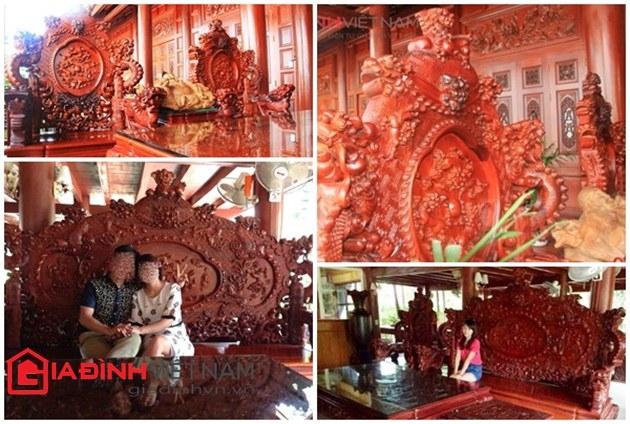 Bộ bàn ghế bằng gỗ lim khá lớn tại Điện Biên