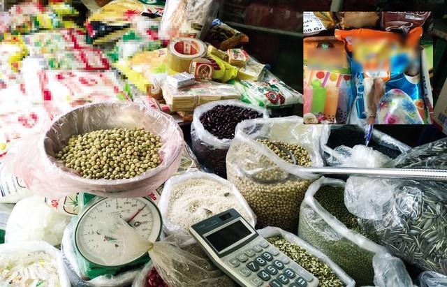"""Hạt đậu nành được quảng cáo là """"đậu ta"""" được phóng viên mua tại chợ Thanh Xuân. Bột kem béo dùng để pha sữa đậu nành ở phố Hàng Buồm (ảnh nhỏ)."""