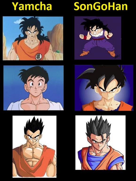 Tấm hình so sánh giữa hai nhân vật Yamcha và SonGoHan gây tranh cãi dữ dội cho các fan yêu thích truyện Dragon Ball.